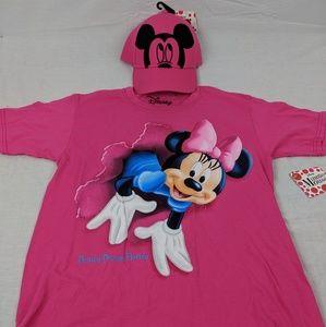 Girls Large Disney Mickey Minnie Shirt Hat Combo